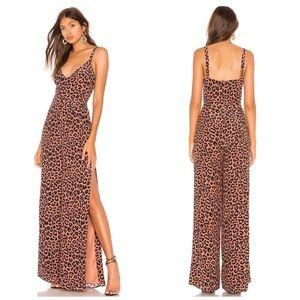 Lovers + Friends Leopard High Waist Slit Jumpsuit